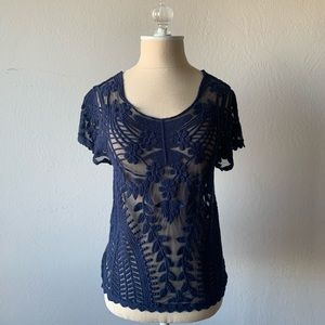 Express Top with Embroidery and Sheer Detail Navy